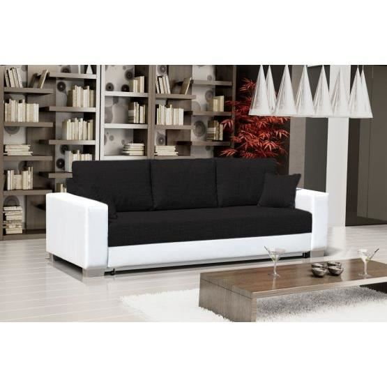 canap convertible 3 places mike noir et blanc achat vente canap sofa divan cdiscount. Black Bedroom Furniture Sets. Home Design Ideas