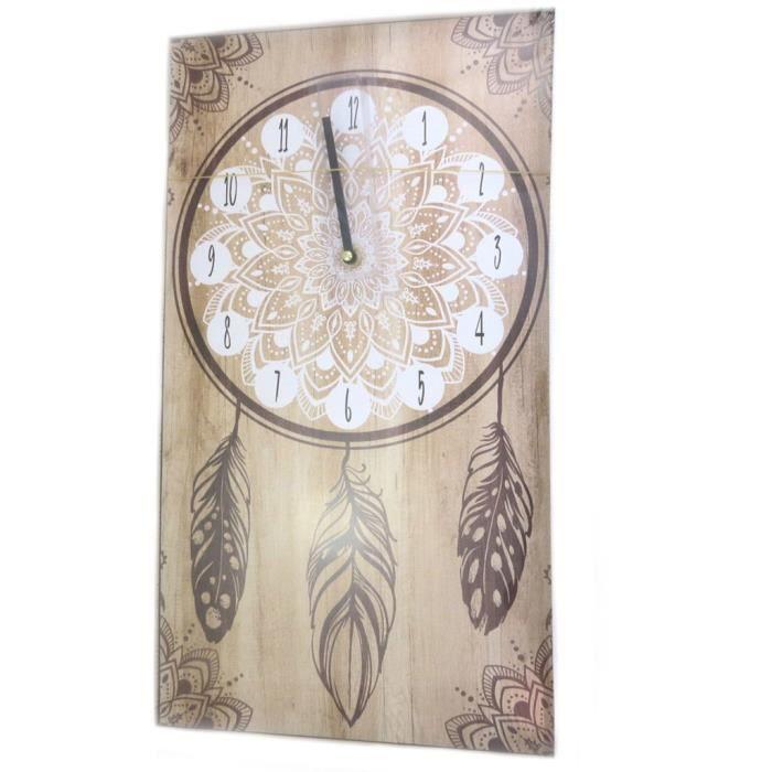 grand Horloge murale 88 cm moderne fait main en bois naturel