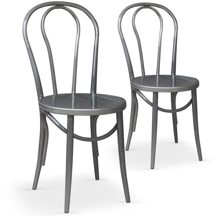 Lot de 2 chaises bistrot talisman m tal achat vente for Chaise bistrot metal