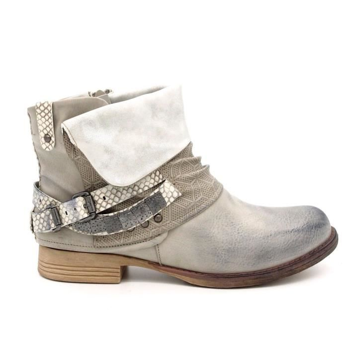 chaussures bottines boots boucle femme bout rond talon plat cuir synth tique gris gris achat. Black Bedroom Furniture Sets. Home Design Ideas