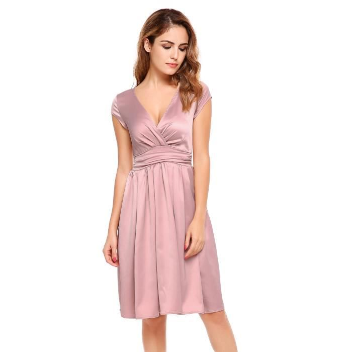 Robe de femme Casual Cap Sleeve Solid Elegant V Cou Party Swing