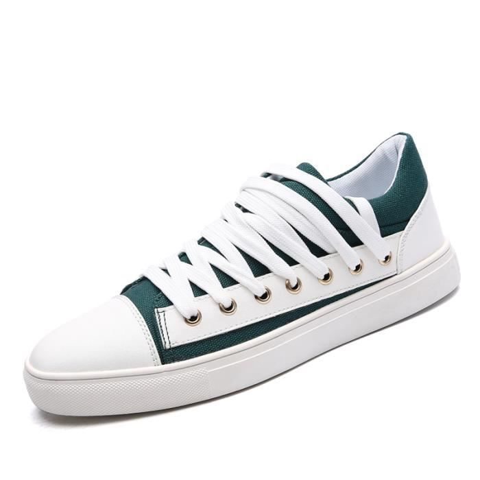 128-Vert-44 Chaussures Luxe2017 Mode Chaussure Homme respirantant L'automne Toile Basket Lacets Chaussure Décontractée Superstar