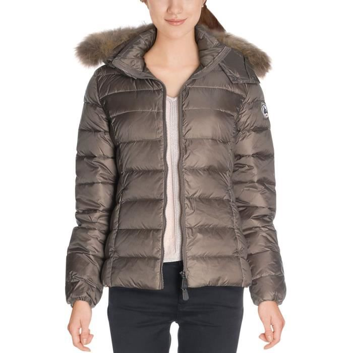 Doudoune capuche grand froid LUXE Taupe Beige Achat
