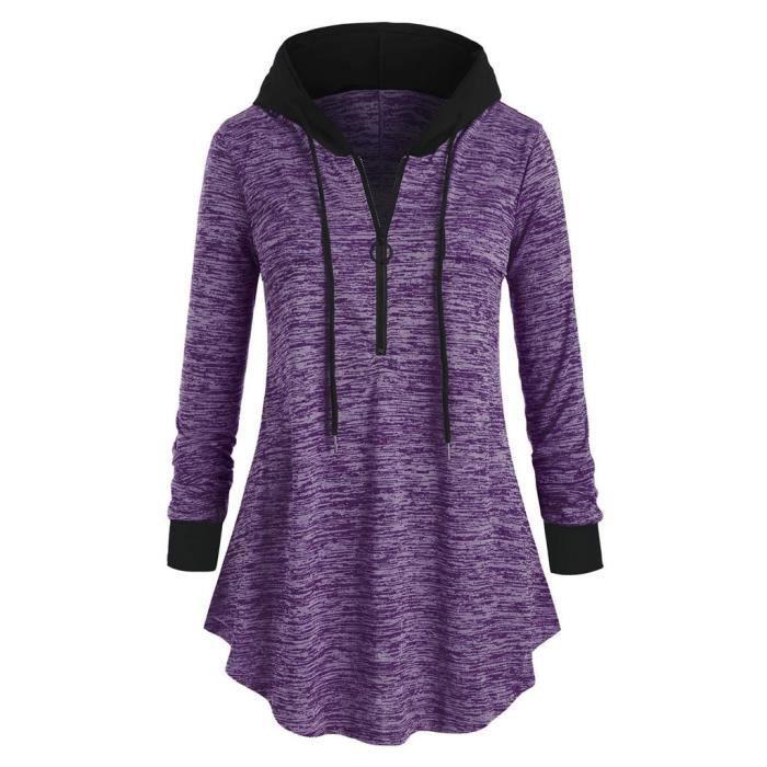 Chers pour femme noir rouge violet coton riche Sweat à capuche à capuche active