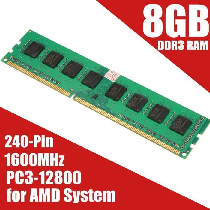 MÉMOIRE RAM NEUFU 8 G GO GB Mémoire RAM DDR3 PC3-12800 1600 MH