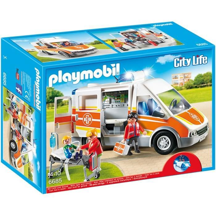 UNIVERS MINIATURE PLAYMOBIL 6685 - City Life - Ambulance avec Gyroph