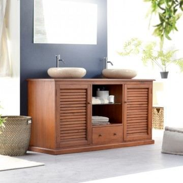 meuble double vasque acajou salle de bain 2 por achat vente meuble vasque plan meuble. Black Bedroom Furniture Sets. Home Design Ideas