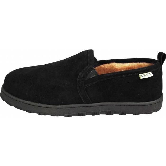 Mens Genuine Leather Cowhide Suede Slippers - Twin Gore Slip On Loafer - Lux Plush Fur Lining CWJH6 Taille-46