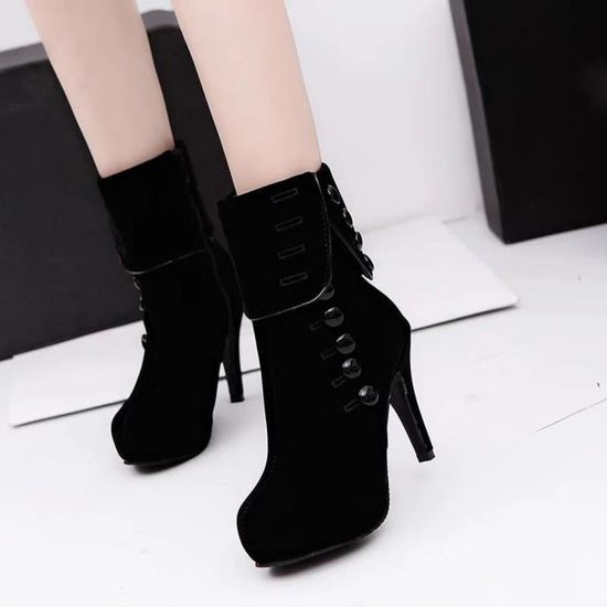 noir Bottes Hiver Femmes Chaussures Bottines Mode Plateforme Rouge Spentoper Boucle Talons b7f6Ygy