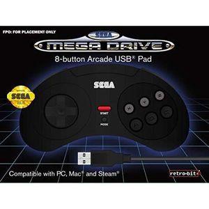 MANETTE JEUX VIDÉO Manette filaire noire Retrobit SEGA Mega Drive Con