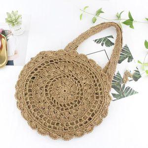 PANIER - SAC DE PLAGE Femmes New Paper Fashion Corde Crochet Big Flower
