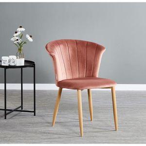 CHAISE Chaise en Velours Vintage Rose Poudré Elsa - Salle