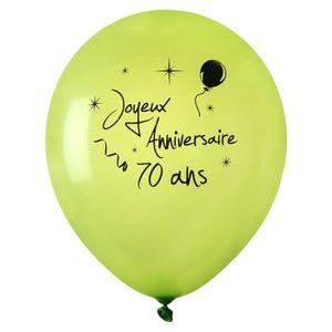 Assortiment de 10 Glitz 70 th Anniversaire Imprimé Ballons-Fête Ballons Noir//Blanc