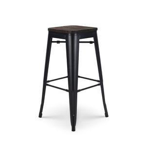 Lot de 4 Tabourets de Bar en m/étal Noir Mat et Assise en Bois fonc/é avec Dossier Kosmi Chaise de Bar Tabouret m/étal et Bois Haut Hauteur 66cm id/éal pour Une Table de 90cm