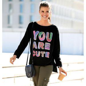 T-SHIRT Tee-shirt fendu asymétrique manches longues et seq