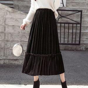 JUPE Mode féminine taille haute en velours Casual Jupe