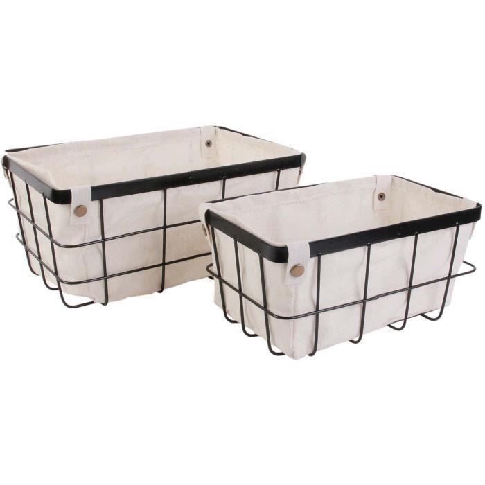 Boîtes & petits rangements - Lot de 2 paniers en métal filaire et doublure tissu - 30x20cm et 25x15cm 14,5 cm Beige