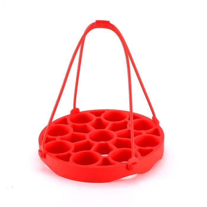 Cuiseur à Oeufs Rouge Support Cuit Vapeur Multifonctionnel en Silicone Moule Alimentaire
