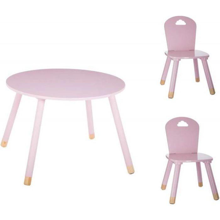 Set Table douceur rose + 2 chaises douceur rose Atmosphera