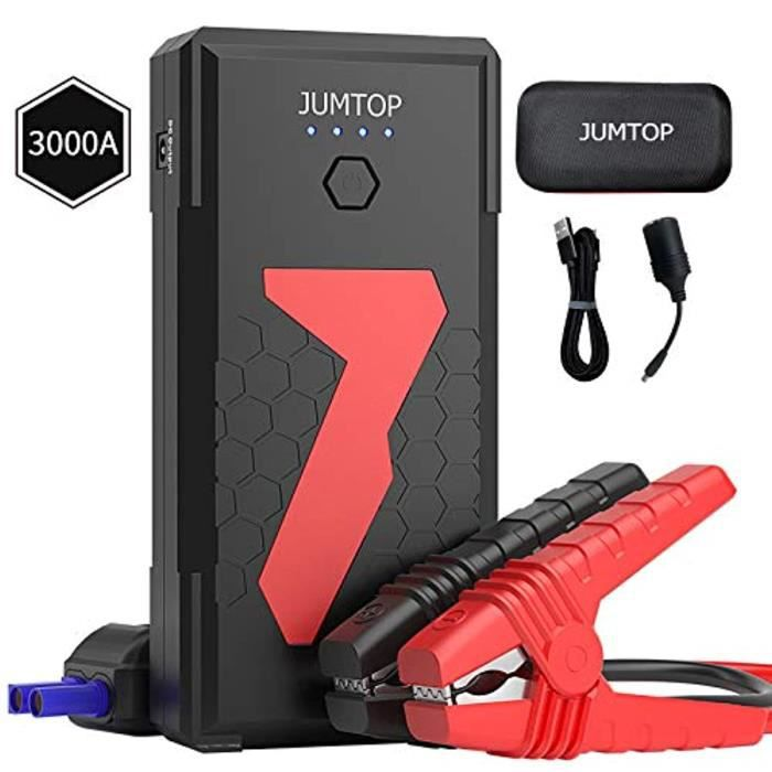 JUMTOP Booster Batterie Voiture 3000A Peak 22000mAh Chargeur Batterie Voitures (10L Gas/8L Diesel Engine) Portable Car Jump Starter