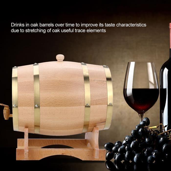 10L Baril de chêne VIN ROUGE - ALCOOL - LIQUIDE 10L tonneau en bois de chêne avec support pour le stockage des vins