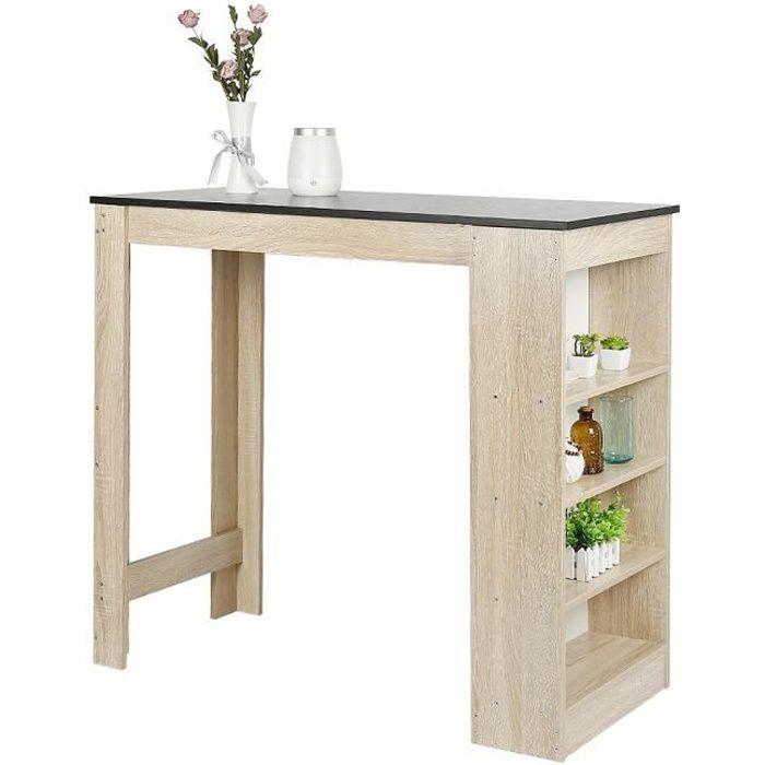 NUO Table de Bar Mange-Debout Table Haute de Cuisine avec 4 étagères de Rangement – Chêne+Noir