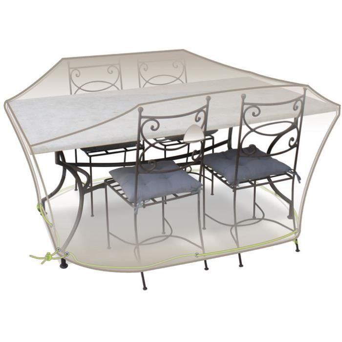 Housse table rectangle + chaises - 4 à 6 personnes - gris mastic