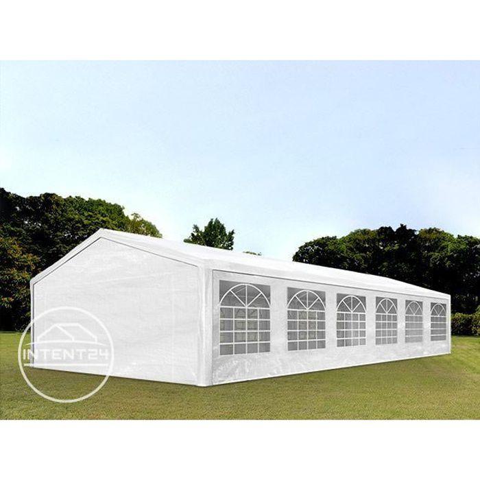 TOOLPORT tente de réception 6x12 m tonnelle barnum PE env. 180g/m² blanc imperméable 6x12m