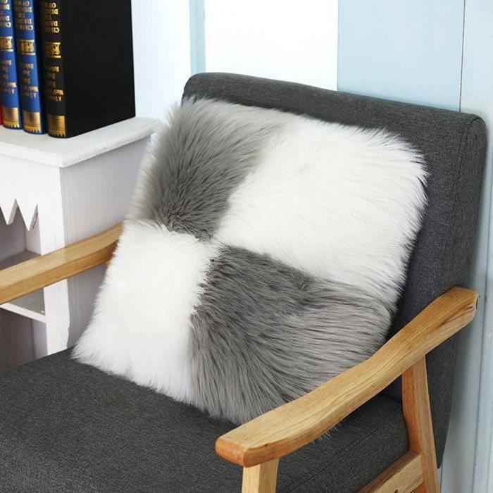 housse de coussin carrée décorative en fausse fourrure pour salon, canapé, chambre, etc. 45 x 45 cm (blanc + gris)