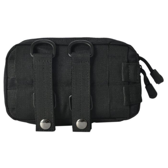 couleur noire -Pochette Molle EDC en Nylon, ceinture tactique de Camping, petite poche, portefeuille militaire, sac de taille, voyag
