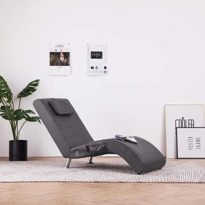 Soldes ®7471Chaise longue de massage Chaise de Relaxation Ergonomique - Fauteuil de massage MÉRIDIENNE avec oreiller Gris Similicuir