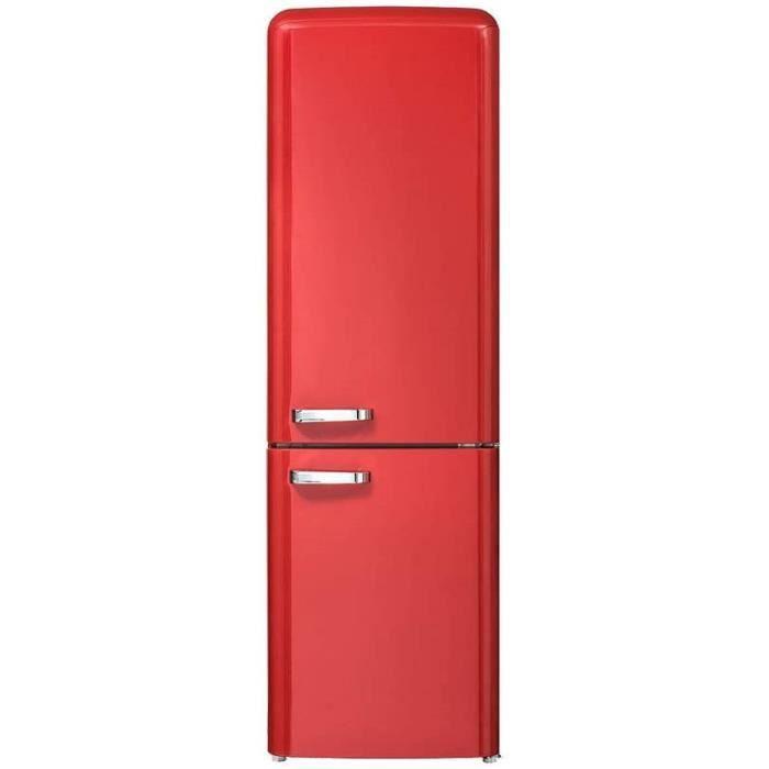 CHiQ Rétro réfrigérateur congélateur bas FBM250NE2R1 250L (180 + 70) Froid ventilé, No Frost, rouge, portes réversibles, A++, 42 db,