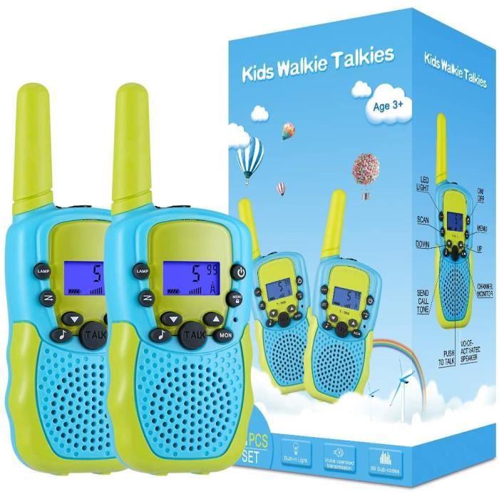 Jouet Garcon 3-12 Ans, Talkies Walkies Enfants Radio à 2 Voies avec 8 Canaux, Lampe de Poche LCD Rétro-éclairée, Gamme de 3 Miles po