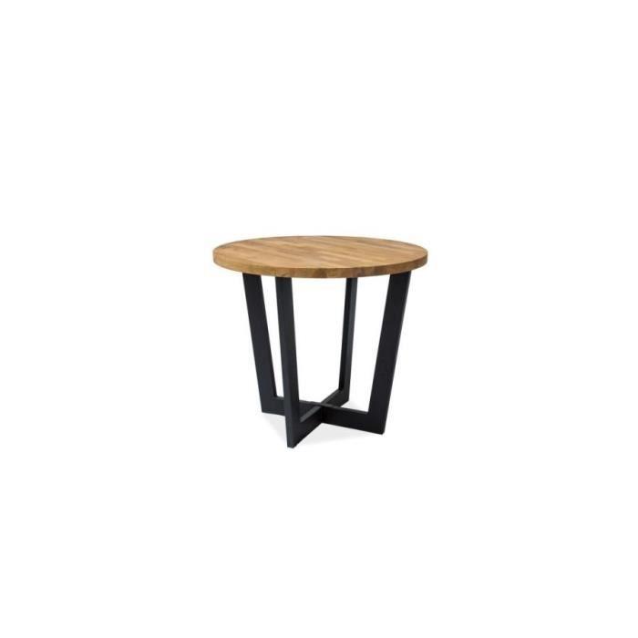 COMO - Table ronde en bois style loft - Dimensions : 90x90x78 cm - Base métallique - Salon Bureau Cuisine - Style industriel - Chêne