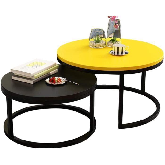 Lot de 2 Table Gigogne Ronde Scandinave Modernes Tables Basses Gigognes, Grand Jaune 70cm, Petit Noir 50cm A193