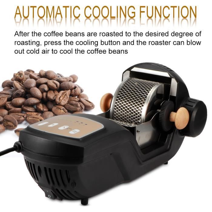 Torréfacteur Électrique à Grains de Café Entièrement Automatique Machine à Rôtir au Four Accessoire de Café(Prise UK 220-240V /