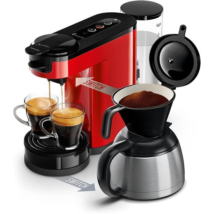 CAFETIERE Philips HD6592-81 Machine &agrave caf&eacute SENSEO Switch 2 en 1 Rouge (machine &agrave dosettes + machine &agrave26