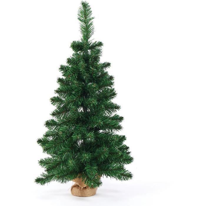 Sapin de Noël - 120 Branches - 60 LED - H 120 cm - Vert lesté