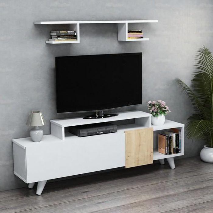 HOMEMANIA Lara Meuble TV avec étagères, portes, tablettes - du salon -Blanc, Chêne en Bois, 161 x 29,5 x 58 cm