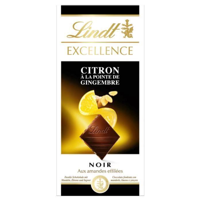 Chocolat noir citron gimgembre 100g Lindt
