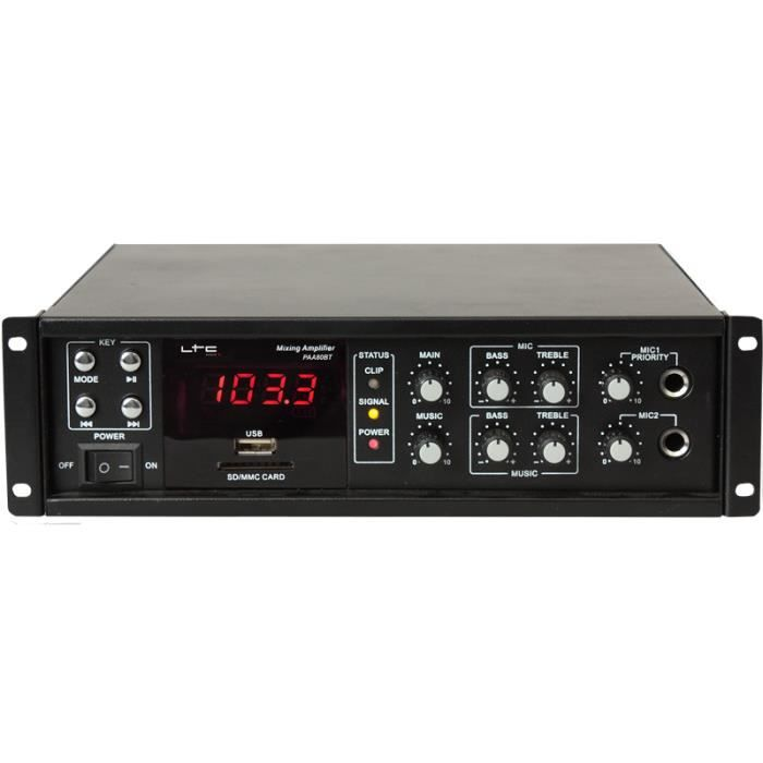LTC PAA80BT Amplificateur public address 80w avec bluetooth, usb-mp3 et tuner fm - Noir