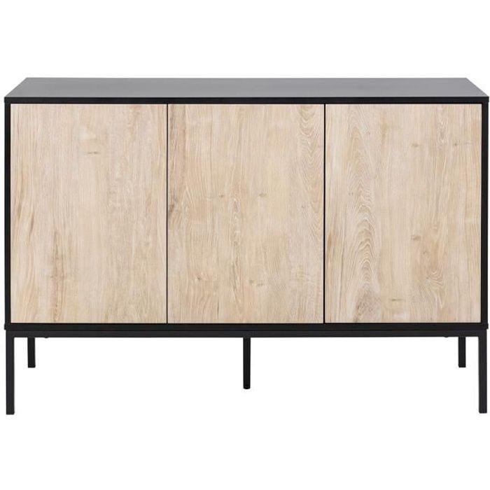 Miliboo - Buffet bas industriel métal et bois blanchi TRESCA
