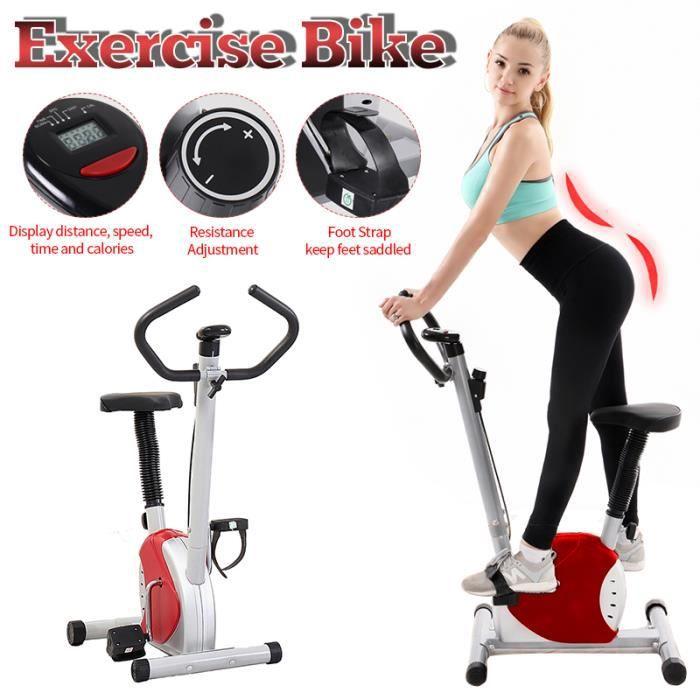 IVEENIR Vélo d'Appartement LED Gym à Domicile avec le Moniteur d'Affichage à Cristaux Liquides ROUGE