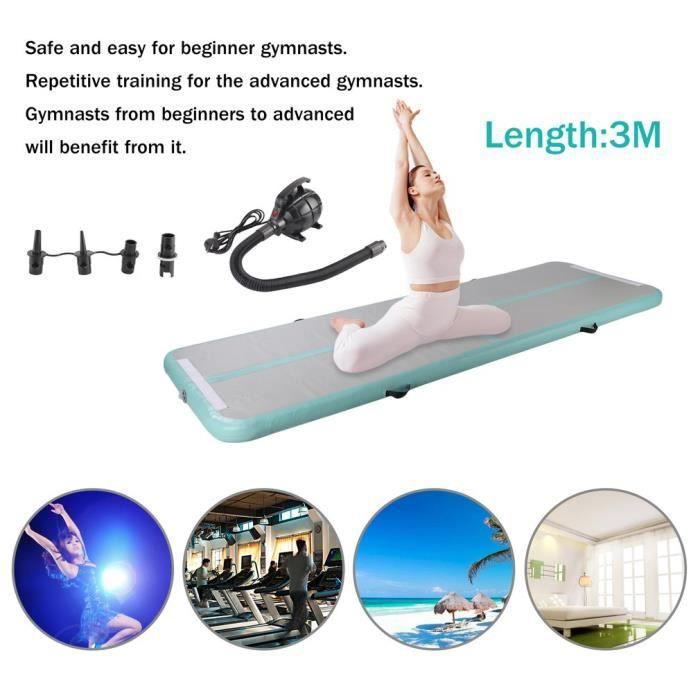 TEMPSA Piste Gonflable Tapis Gymnastique Air Tumbling Track Yoga Plancher + Pompe 90*300CM