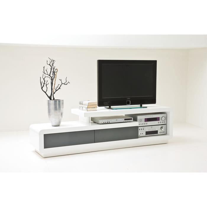Meuble TV en laqué blanc brillant avec 2 tirois gris - L170 x H40 x P45 cm
