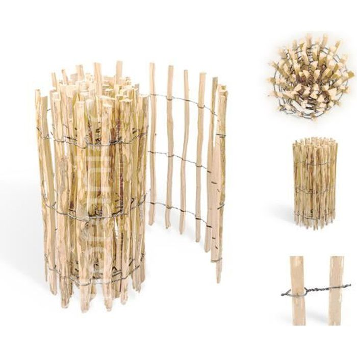 Clôture à lattis en bois de noisetier imprégné - Longueur: 5m, Ecart Piquets: 8 à 10 cm, Hauteur:100 cm