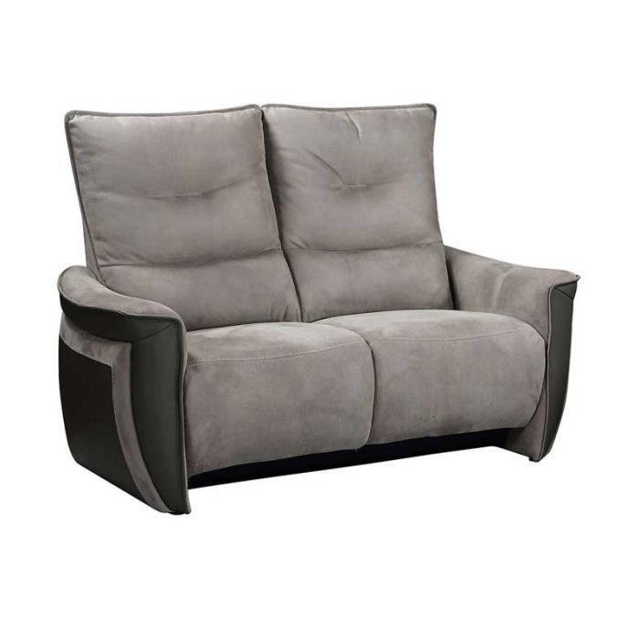 Canapé 2 places Relax Electrique Cuir/Tissu gris - ZEALAND - L 151 x l 90 x H 109