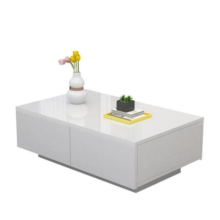 TABLE BASSE Table basse blanche à quatre tiroirs de salon en b