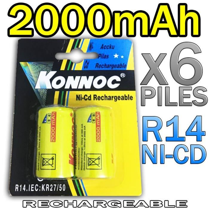 6 piles c r14 lr14 2000mah rechargeable 1 2v ni cd accu - Pile rechargeable 1 5v ...