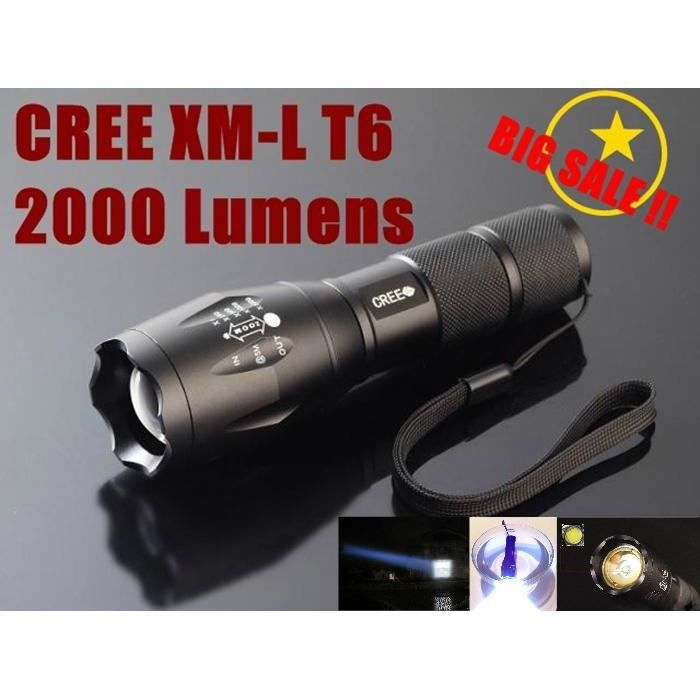 puissante lampe torche led cree xm l t6 2000lm 5 modes zoom 18650 waterproof achat vente. Black Bedroom Furniture Sets. Home Design Ideas
